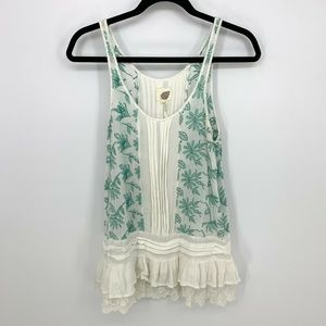 Anthropologie Lilka Sinaloa Embroider Peplum Tank